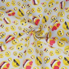 Emoji Print on Grey Polycotton Fabric x 0.5m